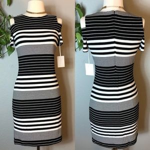 1. STATE Striped Jersey Cold Shoulder Dress
